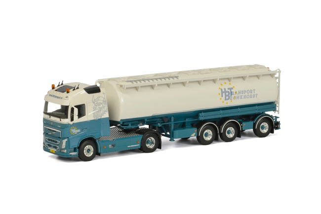 HBT Transport Volvoボルボ FH4 Globetrotter Tanker Powder Welgro 3軸トラック 建設機械模型 工事車両 WSI 1/50 ミニチュア