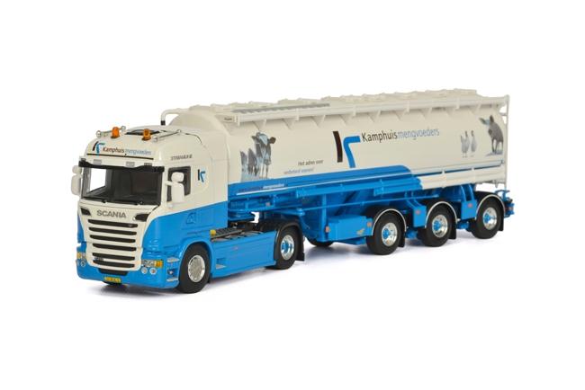 Kamphuis Mengvoeders SCANIAスカニア R Streamline Highline バルクトレーラー Kipper 3軸 トラック /WSI 建設機械模型 工事車両 1/50 ミニチュア