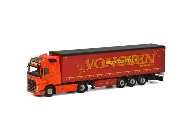 Voncken Transport Volvoボルボ FH4 Globetrotter カーテンサイダートレーラー 3軸トラック 建設機械模型 工事車両 WSI 1/50 ミニチュア