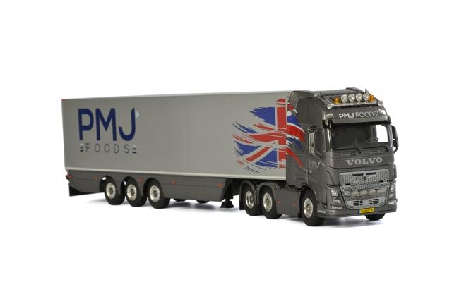 PMJ Foods Volvoボルボ FH4 Globetrotter XL リーファートレーラー Carrier 3軸 トラック /WSI 建設機械模型 工事車両 1/50 ミニチュア