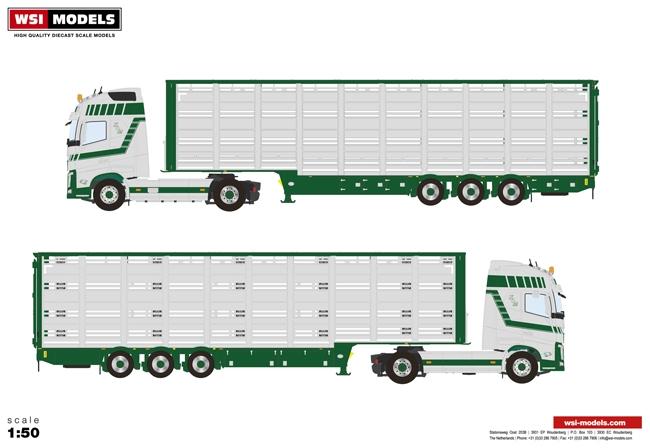 【予約】2017年4-6月以降発売予定Keus & Mollink Volvoボルボ FH4 Globetrotter Live Stock Trailer 3軸トラック /WSI 建設機械模型 工事車両 1/50 ミニチュア