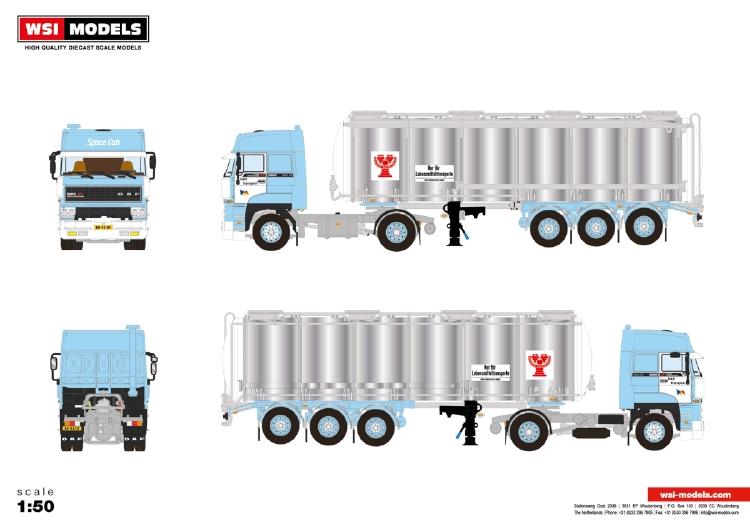 【予約】10-12月以降発売予定H&S Transport; DAF 2800 SPACE CAB 4x2 TANK TRAILER - 3 AXLE トラック /建設機械模型 工事車両 WSI 1/50 ミニチュア