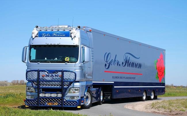 【予約】10-12月以降発売予定Gebr. Fleuren MAN TGX XXL Semi Box Trailerトラック 建設機械模型 工事車両 WSI 1/50 ミニチュア