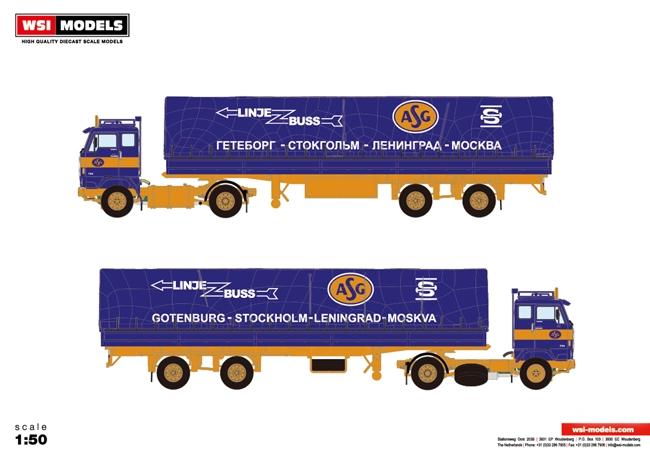 【予約】10-12月以降発売予定ASG Volvoボルボ F88 Classic Curtain Sided Trailerトラック 建設機械模型 工事車両 WSI 1/50 ミニチュア