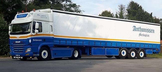 【予約】4-6月以降発売予定Anthonissen DAF CF Space Cab Schuifzeiltrailerトラック 建設機械模型 工事車両 WSI 1/50 ミニチュア