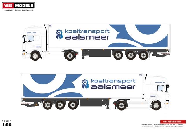 【予約】10-12月以降発売予定Koeltransport Aalsmeer Scaniaスカニア R Streamline Topline リーファートレーラー Carrier 3軸トラック 建設機械模型 工事車両 WSI 1/50 ミニチュア