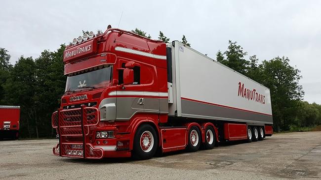 【予約】4-6月以降発売予定ManuTrans Scaniaスカニア R Topline リーファートレーラー Carrier3軸トラック 建設機械模型 工事車両 WSI 1/50 ミニチュア