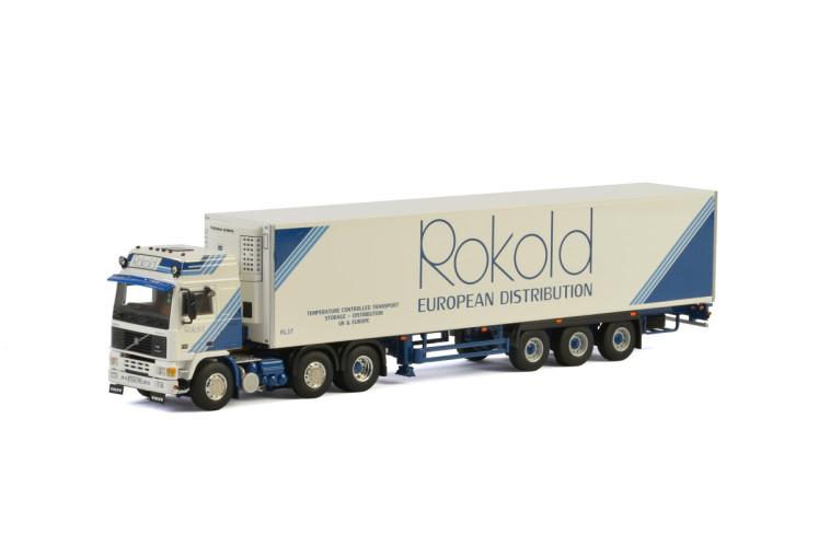 Rokold VOLVO F12 6x2 TWIN STEER リーファートレーラー - 3軸トラック /建設機械模型 工事車両WSI 1/50 ミニチュア
