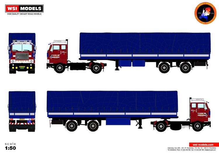【予約】10-12月以降発売予定Van Holland Transporten; VOLVO F88 4x2 カーテンサイダートレーラー CLASSIC - 2軸 トラック /建設機械模型 工事車両 WSI 1/50 ミニチュア