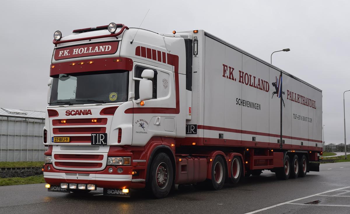 【予約】10-12月以降発売予定F.K. Holland Pallethandel SCANIAスカニア R5 TOPLINE 6x2 TAG AXLE リーファートレーラー - 3軸トラック /建設機械模型 工事車両WSI 1/50 ミニチュア