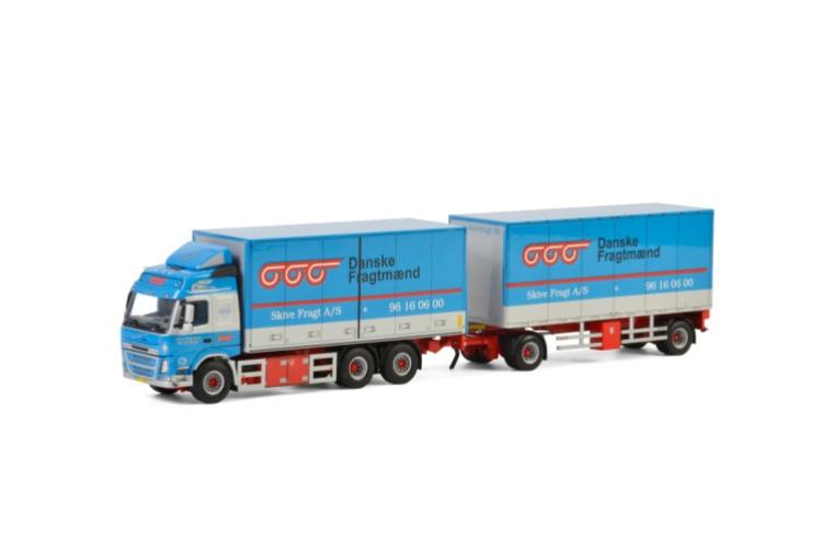Skive Fragt A/S; VOLVO FM4 GLOBETROTTER 6X2 TAG AXLE RIGED TRUCK DRAWBAR BOX - 5軸トラック /建設機械模型 工事車両 WSI 1/50 ミニチュア
