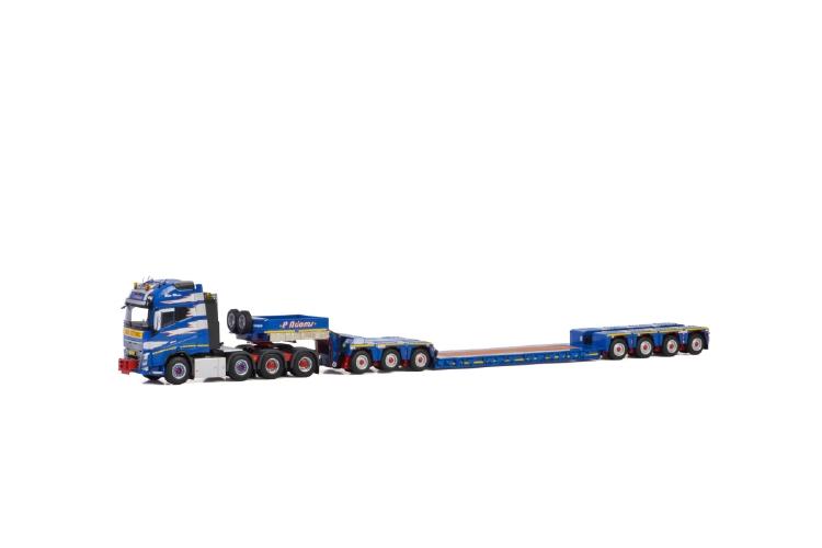 P. Adams VOLVO FH4 GLOBETROTTER XL 8x4 LOWLOADER 4軸 + DOLLY 3軸トラック /建設機械模型 工事車両WSI 1/50 ミニチュア