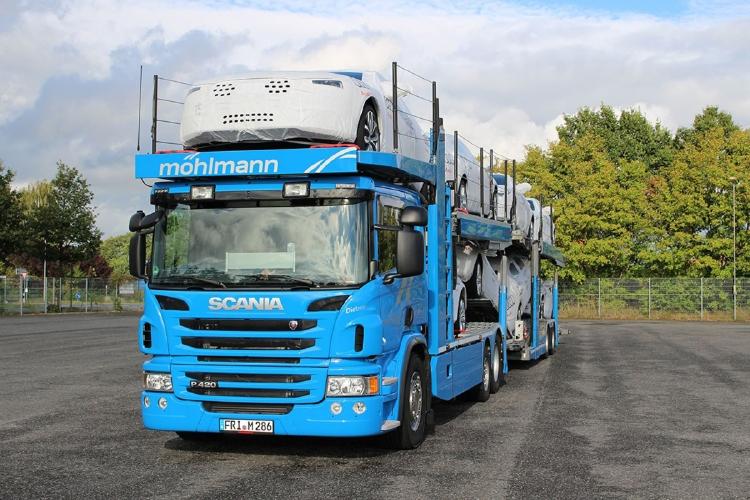 【予約】2019年4-6月以降発売予定Mohlmann Automobil Logistik SCANIA P6 FLAT ROOF 6x2 TWIN STEER CAR TRANSPORTER - 2軸 トラック積載車キャリアカー /建設機械模型 工事車両 WSI 1/50 ミニチュア