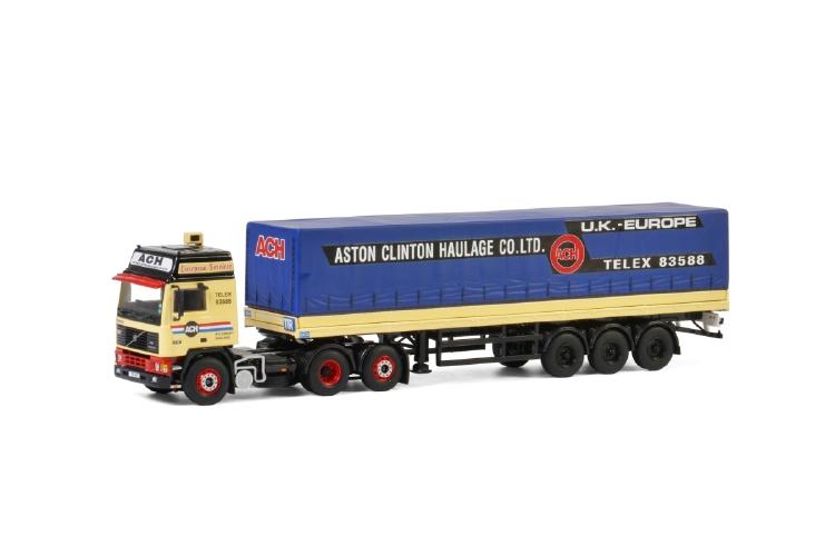 Aston Clinton Haulage; VOLVO F12 6X2 TAG AXLE カーテンサイダートレーラー - 3軸トラック /建設機械模型 工事車両 WSI 1/50 ミニチュア