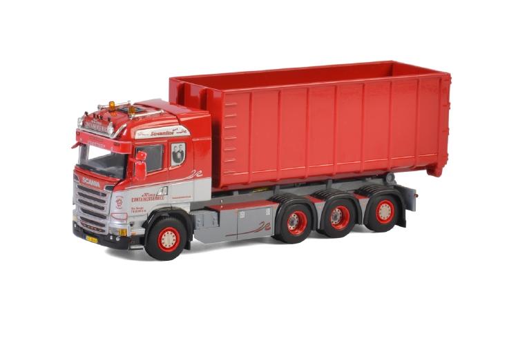 Kim's Container; SCANIAスカニア STREAMLINE HIGHLINE 8x4 + HOOKLIフィートコンテナ 40m3トラック /建設機械模型 工事車両 WSI 1/50 ミニチュア