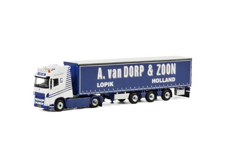 A. van Dorp & Zoon; VOLVO FH4 GLOBETROTTER 4x2 CURTAINSIDE / TAUTLINER TRAILER - 3軸トラック /建設機械模型 工事車両 WSI 1/50 ミニチュア