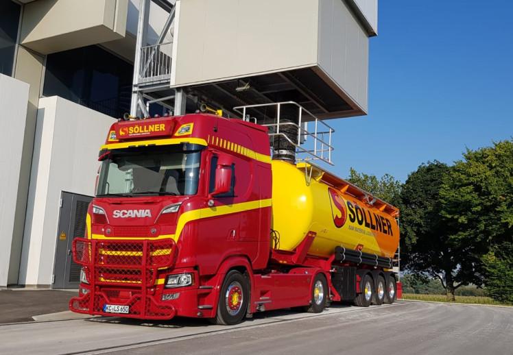 【予約】2019年4-6月以降発売予定Sollner Schwerlast SCANIA S HIGHLINE | CS20H 4x2 BULK TIPPER TRAILER - 3軸 トラックトレーラー /建設機械模型 工事車両 WSI 1/50 ミニチュア