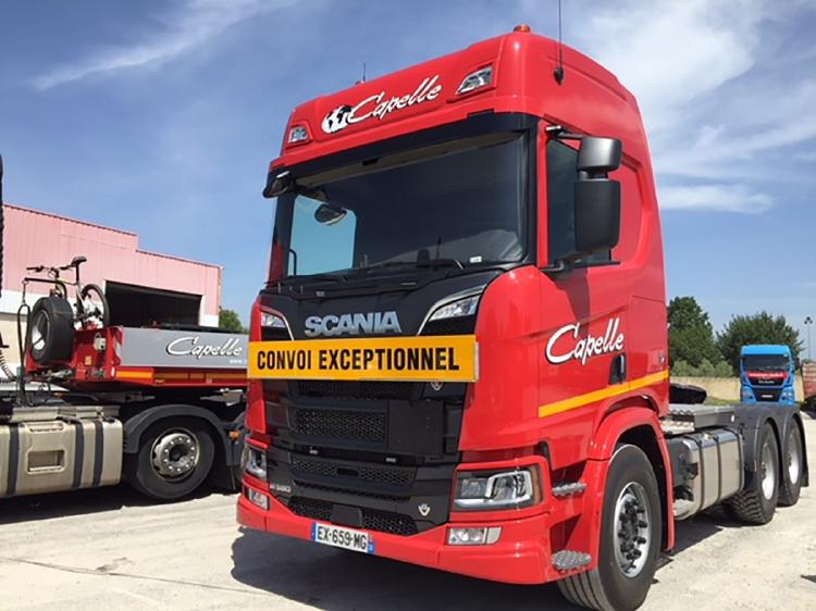 【予約】10-12月以降発売予定Transports Capelle; SCANIAスカニア R HIGHLINE CR20H 6x4 低床セミ 4軸 トラック /建設機械模型 工事車両 WSI 1/50 ミニチュア
