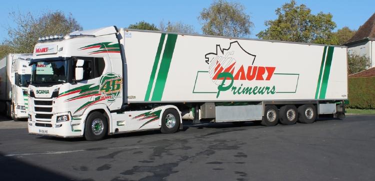 【予約】10-12月以降発売予定Transports Maury; SCANIAスカニア R HIGHLINE CR20H 4x2 リーファートレーラー - 3軸 トラック /建設機械模型 工事車両 WSI 1/50 ミニチュア