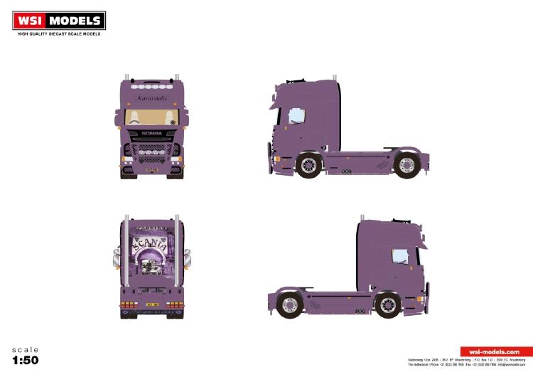 【予約】12月以降発売予定Karatsiolis SCANIA STREAMLINE TOPLINE 4X2トラック 建設機械模型 工事車両WSI 1/50 ミニチュア
