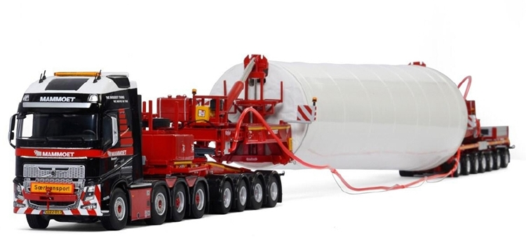 【予約】10-12月以降発売予定MAMMOETマムート特注 VOLVO 8x4 MEGA WINDMILL TRANSPORTER トラック トレーラー/WSI 1/50 建設機械 模型ミニカー はたらく車 重機