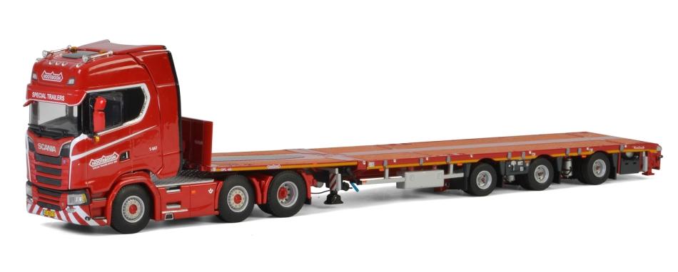 KNT 赤 Line Noteboom SCANIA S HIGHLINE CS20H 6x2 MEGATRAILER FLATBED - 3軸 トラックトレーラー /建設機械模型 工事車両 WSI 1/50 ミニチュア