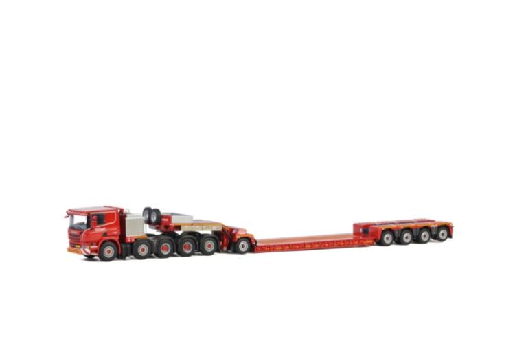 KNT Red Line; SCANIAスカニア P6 FLAT ROOF 10x4 低床 4軸 + DOLLY 1 AXLEトレーラー /建設機械模型 工事車両 WSI 1/50 ミニチュア