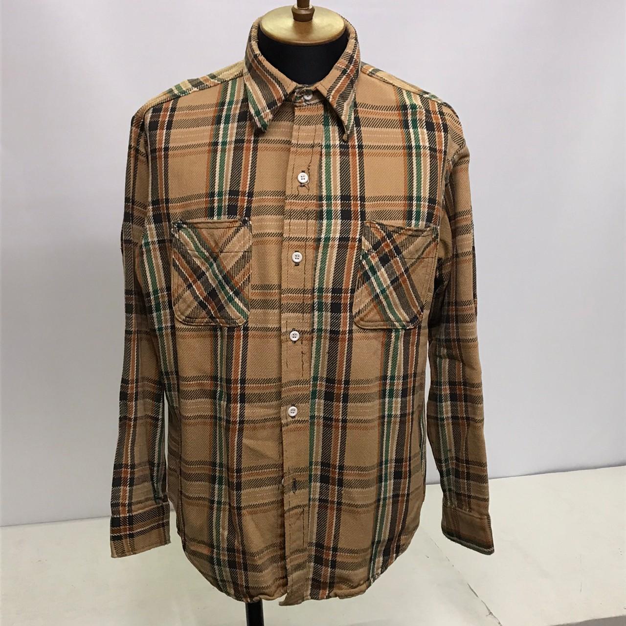 中古 BIG MAC ビッグマック 70's 70年代 注目ブランド フランネルシャツ 全品送料無料 JC JCペニー ブラウン×オレンジ 茶色×橙色 中古品 サイズL PENNEY 05r3008