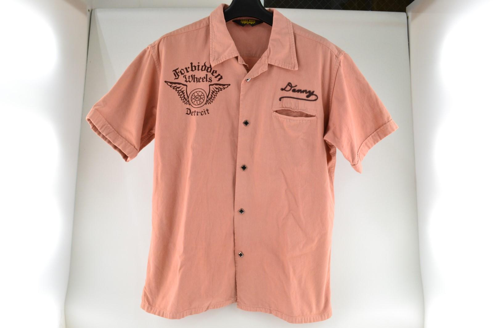 中古 WESTRIDE ウエストライド 半袖シャツ アメカジ メンズ プリントシャツ 02r3210 サイズ38 ピンク セールSALE%OFF 中古品 ショッピング