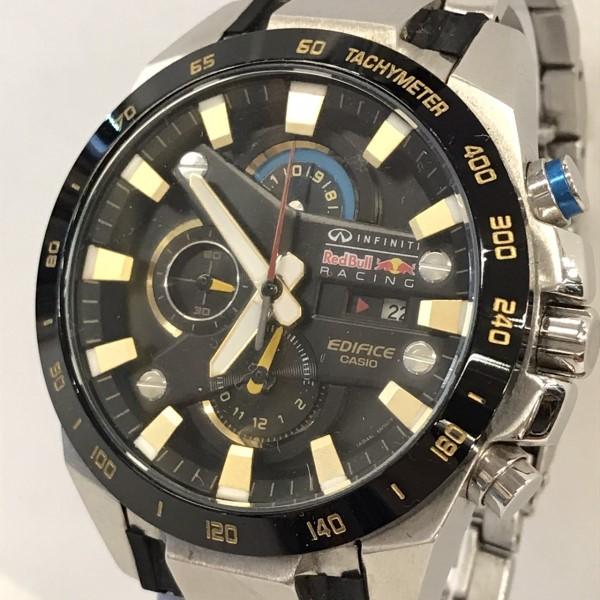 【中古】CASIO カシオ EDIFICE エディフィス EFR-540 インフィニティレッドブルコラボ 腕時計 シルバー 銀 黒 ブラック 金 ゴールド 03r0767