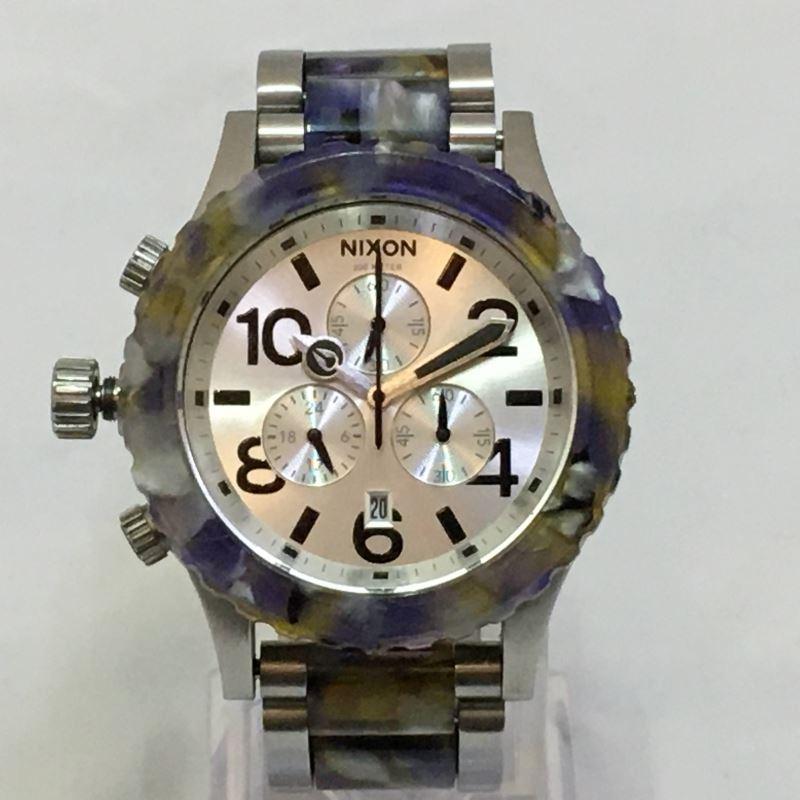 中古 NIXON THE 42-20 CHRONO ウォーターカラー 腕時計 03r1679 シルバー パープル ☆送料無料☆ 当日発送可能 ディスカウント クロノグラフ 銀 紫 中古品