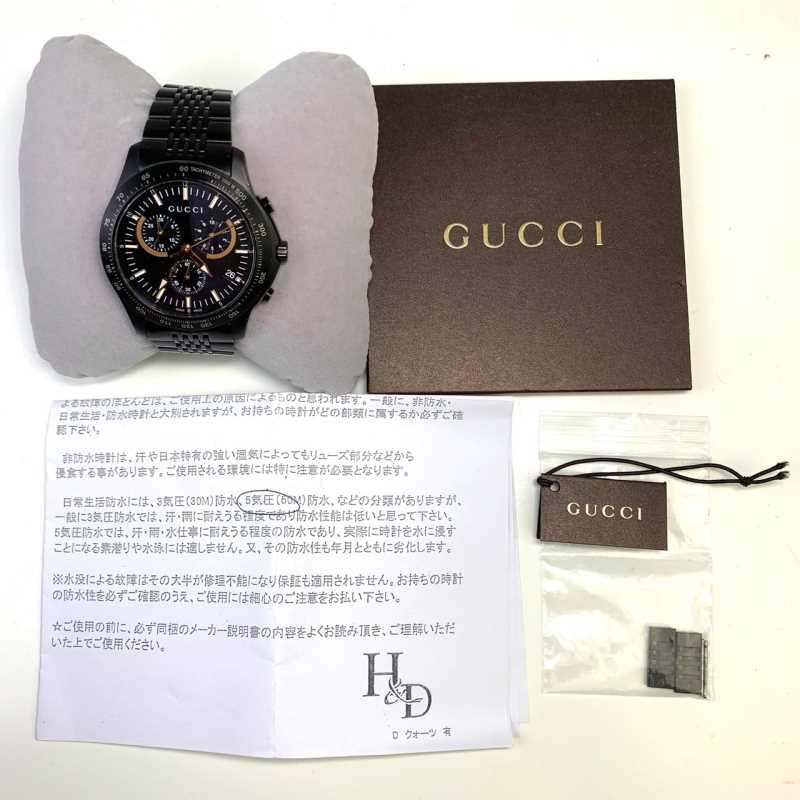 【中古】Gucci グッチ Gタイムレス クロノグラフYA126260 黒 ブラック メンズ 腕時計 中古品 01r0505