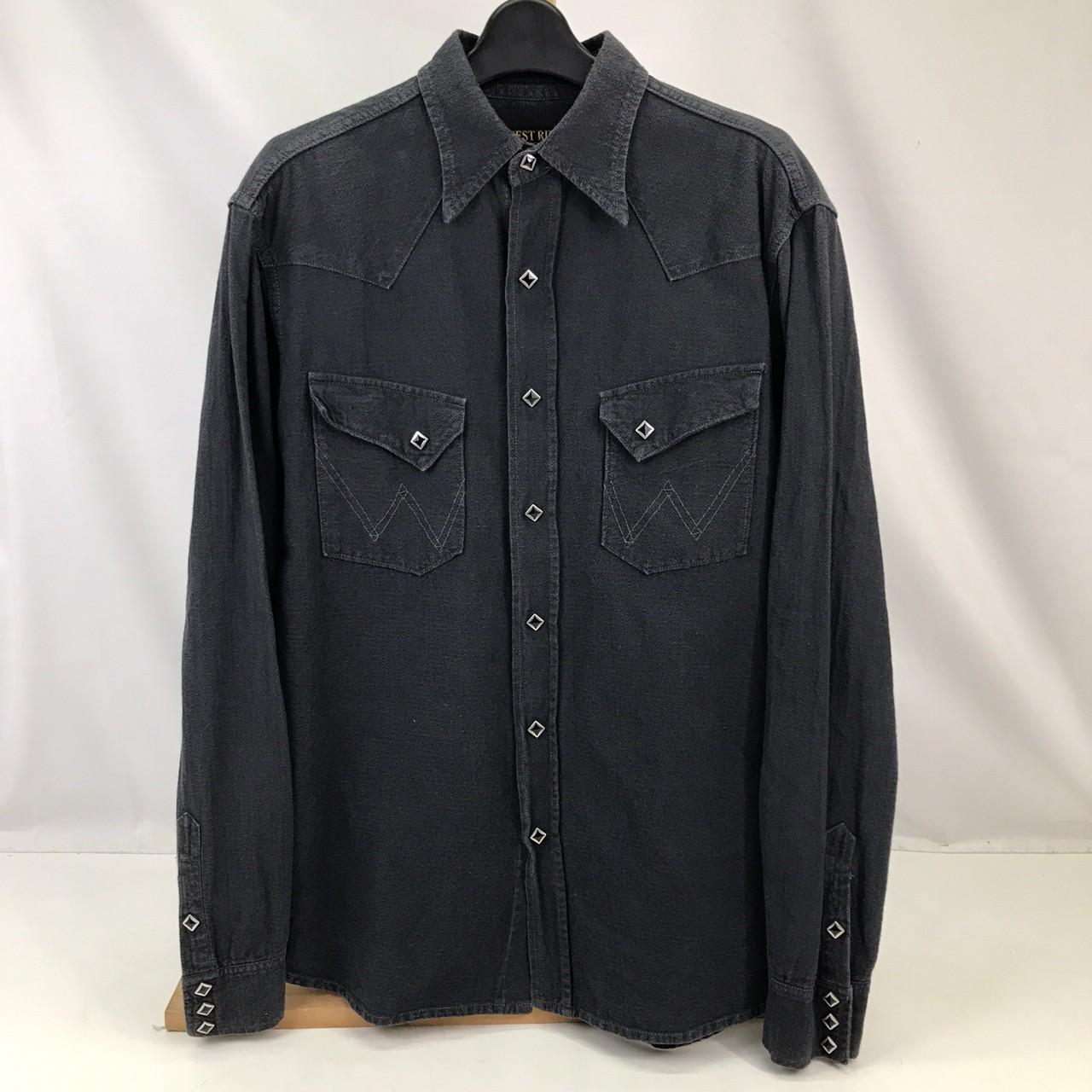 中古 WEST RIDE 大人気 ウエストライド 長袖シャツ カジュアルシャツ 大規模セール トップス メンズ BLACK 無地 黒 アメカジ ブラック 中古品 サイズ42 01r2248