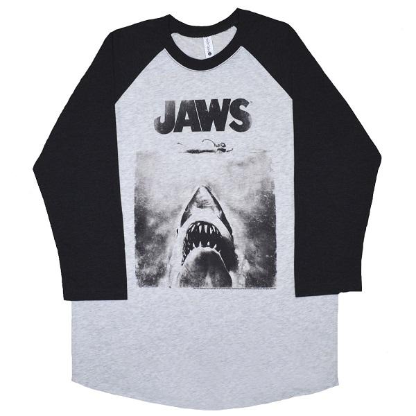 メール便なら送料無料 ジョーズのオフィシャルマーチャンダイズ JAWS アイテム勢ぞろい ジョーズ Poster ロングスリーブ ラグラン Tシャツ お買い得品