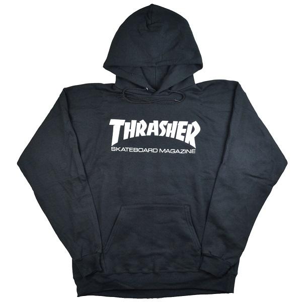 スラッシャー Pullover Hooded パーカー Sweat Parka 送料無料 即納送料無料! THRASHER Logo BLACK USモデル 新発売 Mag プルオーバーパーカー