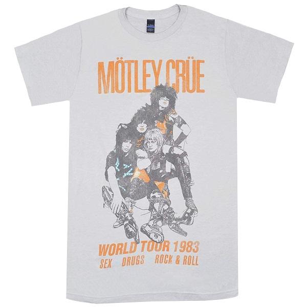 メール便なら送料無料 モトリー クルーのオフィシャルマーチャンダイズ MOTLEY CRUE ふるさと割 モトリークルー Vintage 送料込 Tour 1983 LIGHT Tシャツ GREY World
