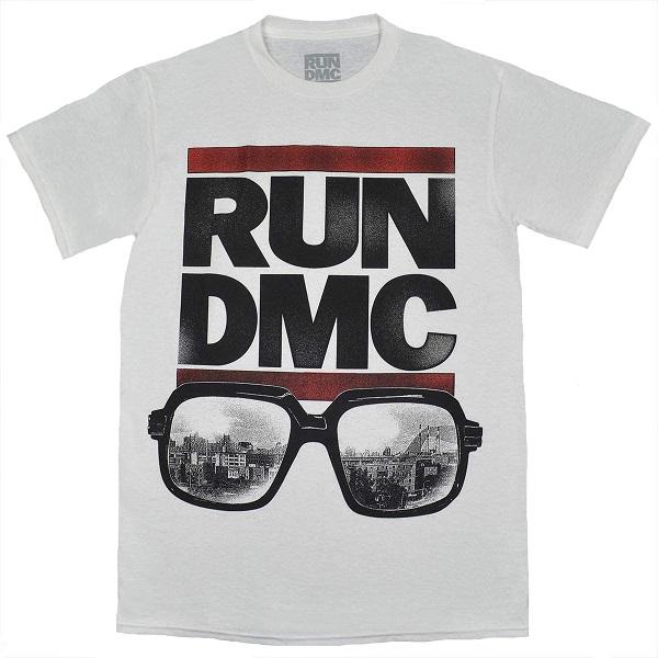 メール便なら送料無料 ラン ディー エムシーのオフィシャルマーチャンダイズ RUN 100%品質保証 DMC Glasses NYC ランディーエムシー 年末年始大決算 Tシャツ WHITE