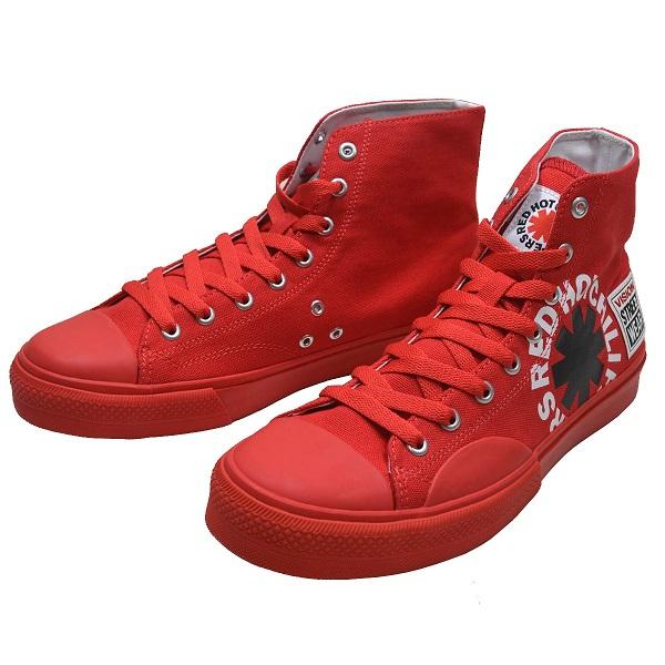 RED HOT CHILI PEPPERS × VISION STREET WEAR レッドホットチリペッパーズ × ヴィジョンストリートウェア Canvas Hi RHCP スニーカー RED
