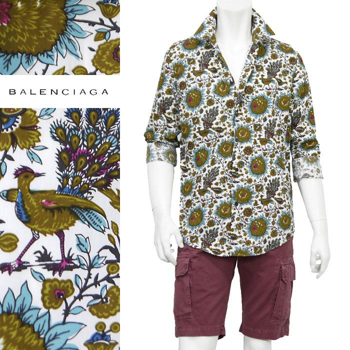 バレンシアガ BALENCIAGA イタリア製 ボタニカル柄 メンズ カジュアルシャツ 総柄 花柄シャツ サイズ(40)(41)(42)