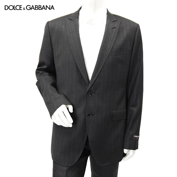 【訳あり】ドルチェ&ガッバーナ DOLCE&GABBANA ドルガバ メンズ テーラードジャケット 【LUXURY】G2852T FR2LB グレー ストライプ サイズ(54)