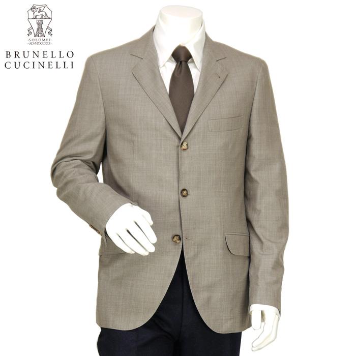ブルネロ クチネリ BRUNELLO CUCINELLI メンズ テーラードジャケット 3つボタン ウール 春夏 背抜き MB4408310 C1023 ベージュ サイズ(50)