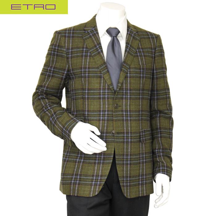 エトロ ETRO メンズ テーラードジャケット ウール グリーン チェック サイズ(52)(54)(56)