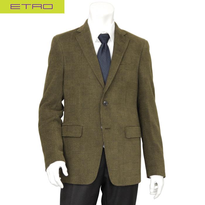 エトロ ETRO メンズ テーラードジャケット コーデュロイ ブラウン グレンチェック サイズサイズ(54)(56)