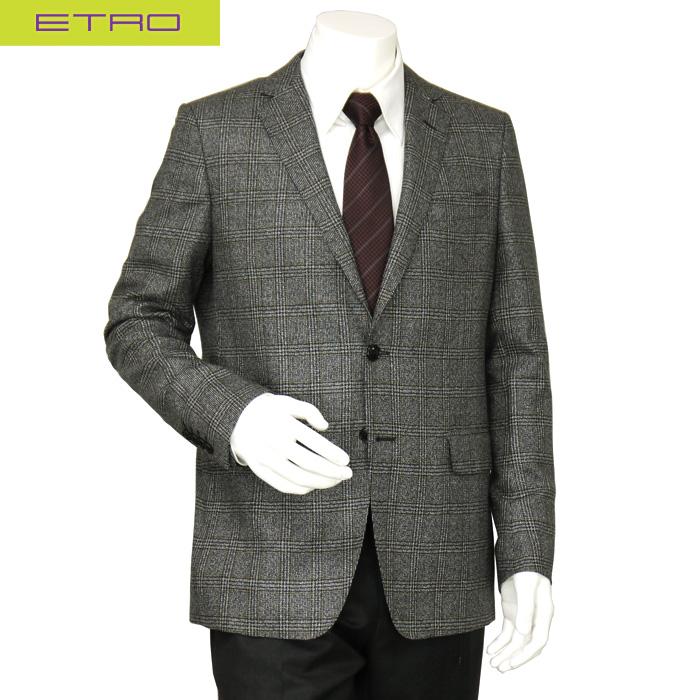 エトロ ETRO メンズ テーラードジャケット ウール シルク グレー チェック サイズ(52)(54)