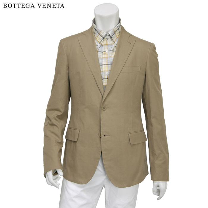 【訳あり】ボッテガ ヴェネタ BOTTEGA VENETA メンズ シングル 2つボタン テーラードジャケット コットン100% ベージュ サイズ(48)