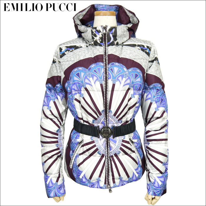 EMILIO PUCCI(エミリオプッチ)Porticato柄/レディース/ベルト付/ショート丈フードダウンジャケット/サイズ42,44