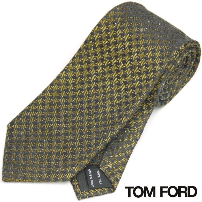 トムフォード TOM FORD ネクタイ シルク100% 千鳥格子 イエロー ブラック【ネクタイを税込3万円以上購入で送料無料!】
