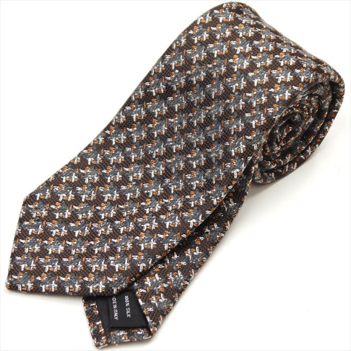 トムフォード TOM FORD ネクタイ シルク100% 総柄 ブラウン グレー ホワイト【ネクタイを税込3万円以上購入で送料無料!】