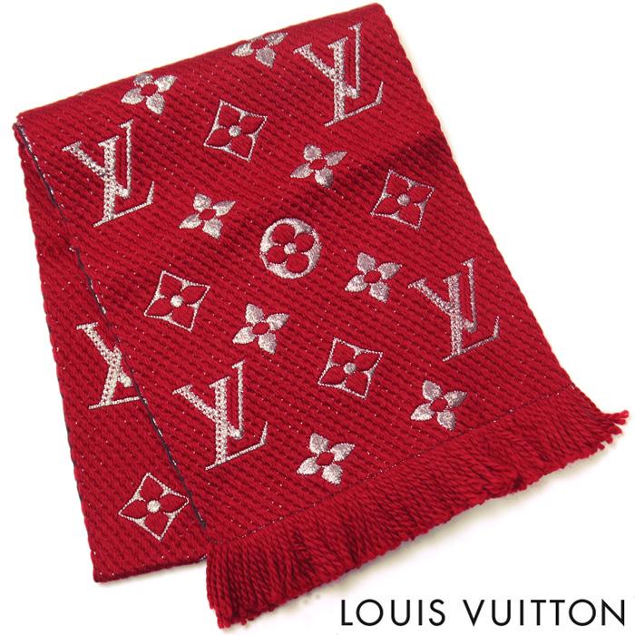 【訳あり】ルイヴィトン LOUIS VUITTON マフラー ルイ ヴィトン LV エシャルプ ロゴマニア シャイン レディース ストール ルイ ヴィトン M75832 ルビー 赤 レッド