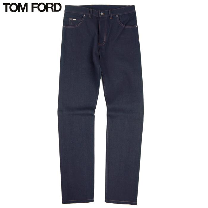 トムフォード TOM FORD デニム コットン100% ジーンズ ブルー 青 ネイビー サイズ48 ジップフライ